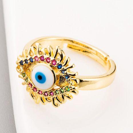 Venta caliente anillo creativo personalizado cobre micro incrustaciones de color circón ojos de diablo anillo de oro chapado en cobre de 18 quilates femenino NHLN186088's discount tags