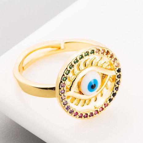 Personalidad caliente Hip Hop Wind Ring Cobre con incrustaciones de circón Redondo Diablo Ojo Anillo de mujer chapado en oro real NHLN186089's discount tags