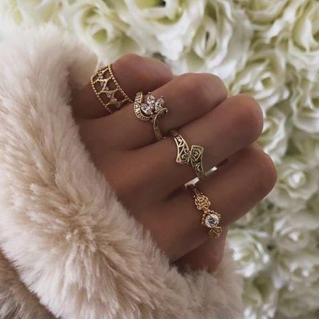Conjunto de 4 piezas de anillo de hoja de diamantes de moda para mujer NHGY185777's discount tags