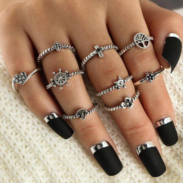 Nine-piece vintage tree ring with diamonds NHGY185784