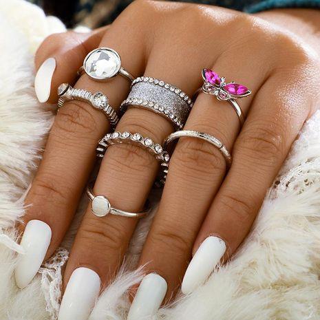 Anillo de mariposa bohemio vintage redondo con diamantes, conjunto de 7 NHGY185793's discount tags