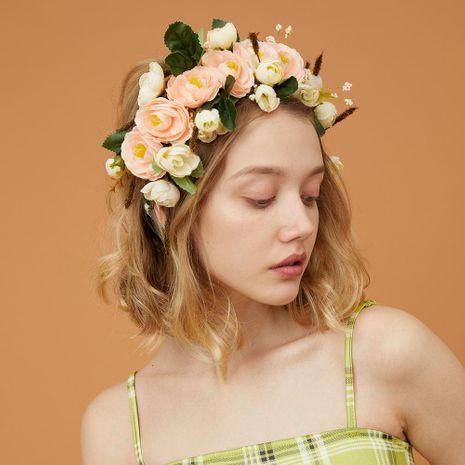 Nuevos hilados de seda corona de flores artificiales accesorios para el cabello estilo de vacaciones boda diadema nupcial NHMD186049's discount tags
