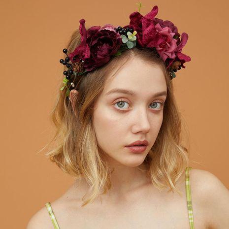 Nuevos accesorios para el cabello nupciales hechos a mano moda venta caliente rosa simulación flor Mori corona de ratán diadema NHMD186052's discount tags
