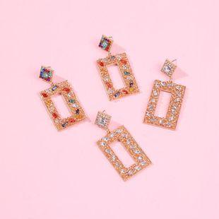 Fashion Super Flash Diamond Earrings Square Alloy Diamond Crushed Light Luxury Stud Earrings NHMD186048's discount tags