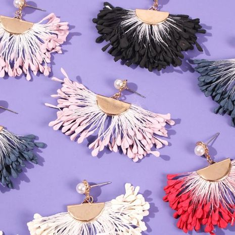 Vintage Scalloped Color Tassel Earrings NHMD186065's discount tags