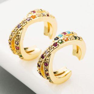 Hot Sale Copper C-shaped Stud Earrings Men and Women Rainbow Zircon Earrings NHLN186071's discount tags