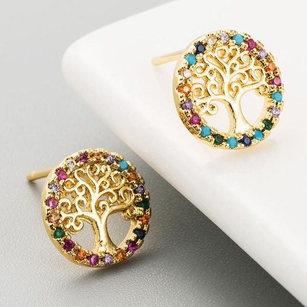 Women's Micro-Set Colorful Cubic Zirconia Copper Plated Pierced Earrings in 18K Gold NHLN186070