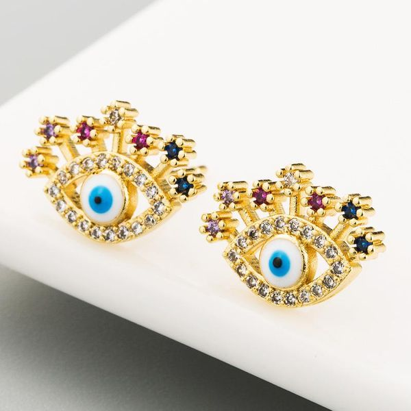 Copper inlaid zircon eye earrings female retro trend earrings NHLN186072