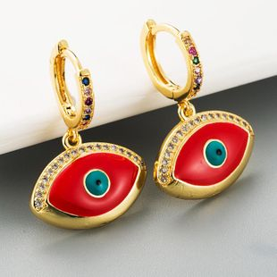 Women's earrings dripping copper inlaid with zircon demon eyes pendant earrings NHLN186074's discount tags