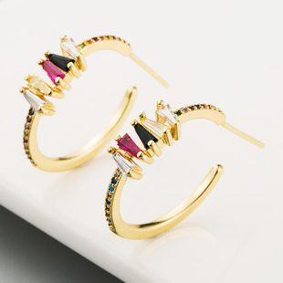 Copper micro-inlaid colorful zircon ear needles personalized simple rainbow Japanese and Korean gold-plated earrings NHLN186076's discount tags