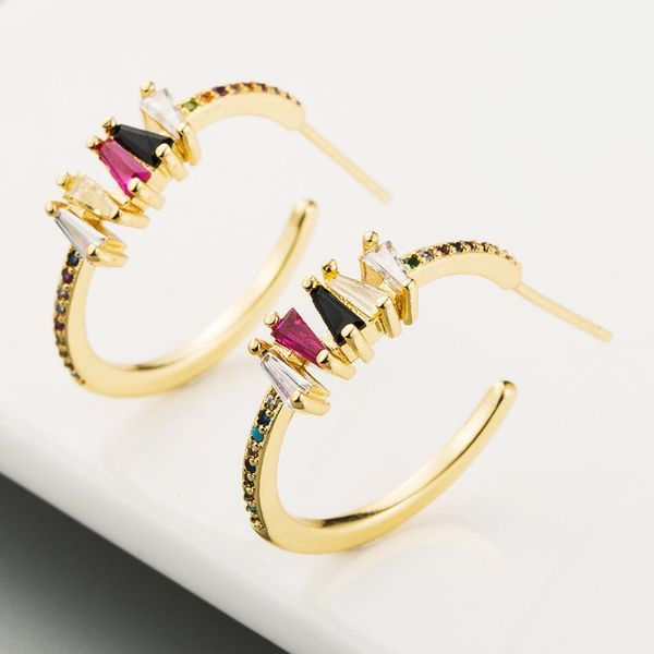 Copper micro-inlaid colorful zircon ear needles personalized simple rainbow Japanese and Korean gold-plated earrings NHLN186076