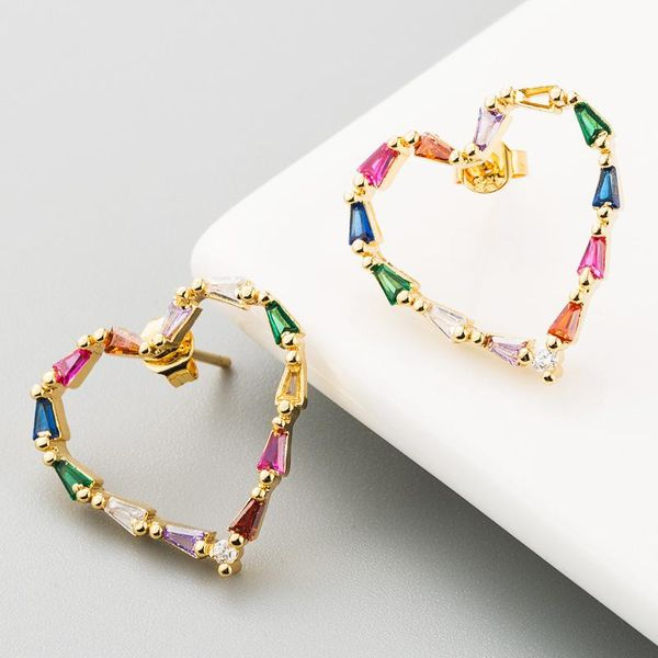 Copper plated 18K real gold personality simple micro-inlaid colorful zircon heart-shaped rainbow earrings NHLN186077