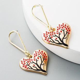 Earrings women's fashion alloy heart-shaped pendant earrings alloy oil ear pin NHLN186078's discount tags