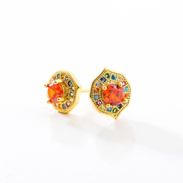 Aretes de circonio color oro micro-plateado femenino con pendientes de cobre real NHLN186091