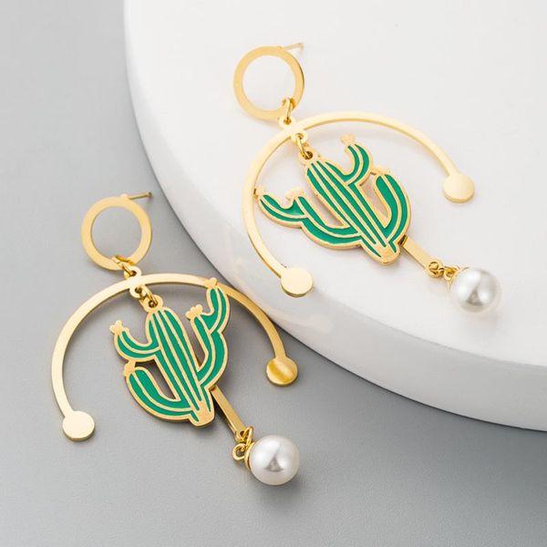 Fashion Girl Heart Flower Earrings Female Stainless Steel Cactus Long Tassel Pearl NHLN186090