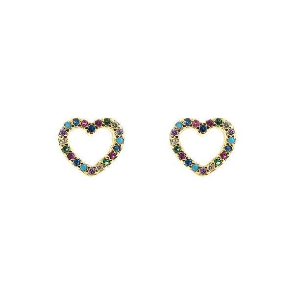 Microcircuitos de cobre con incrustaciones de circonitas de colores chapadas en oro de 18 quilates NHLN186092