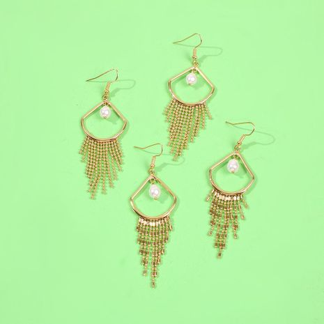 Simple personality tassel new earring banquet wild pearl temperament earrings NHMD186058's discount tags