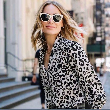 Blusa francesa al por mayor del estampado leopardo del vintage del invierno NHAM186216's discount tags