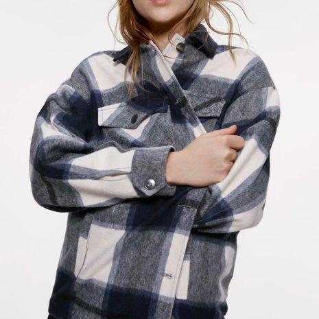 Wholesale abrigo de blusa a cuadros de invierno NHAM186213's discount tags