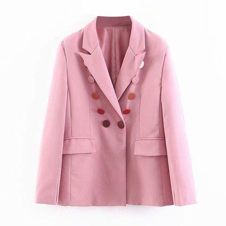 Traje femenino rosado al por mayor de la chaqueta con textura pesada NHAM186175's discount tags