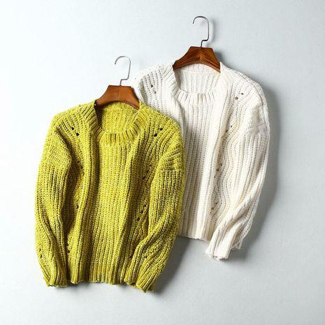 Venta al por mayor de invierno chenilla cuello redondo suéter corto de las mujeres suéter NHAM186208's discount tags