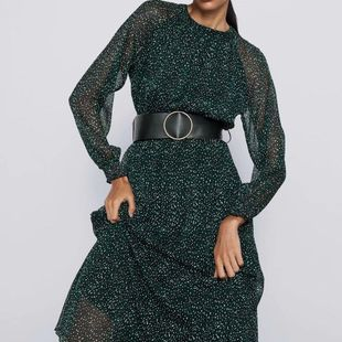 Wholesale Winter Belted Printed Long Sleeve Dress NHAM186151's discount tags