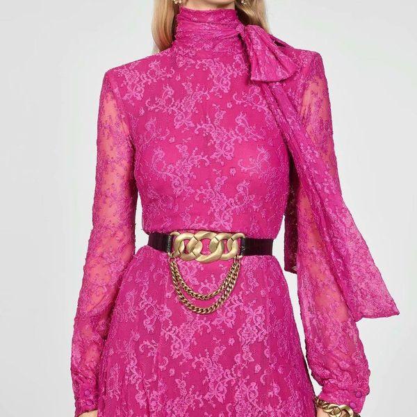 Wholesale Winter Bow Long Lace Sleeve Dress NHAM186152