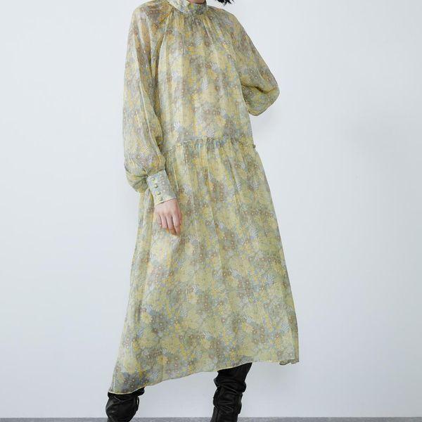 Wholesale Ladies Collar Metallic Line Print Dress NHAM186157