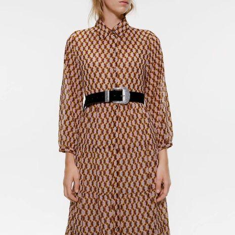 Wholesale otoño vestido de camisa impresa NHAM186161's discount tags