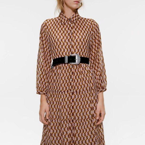 Wholesale otoño vestido de camisa impresa NHAM186161