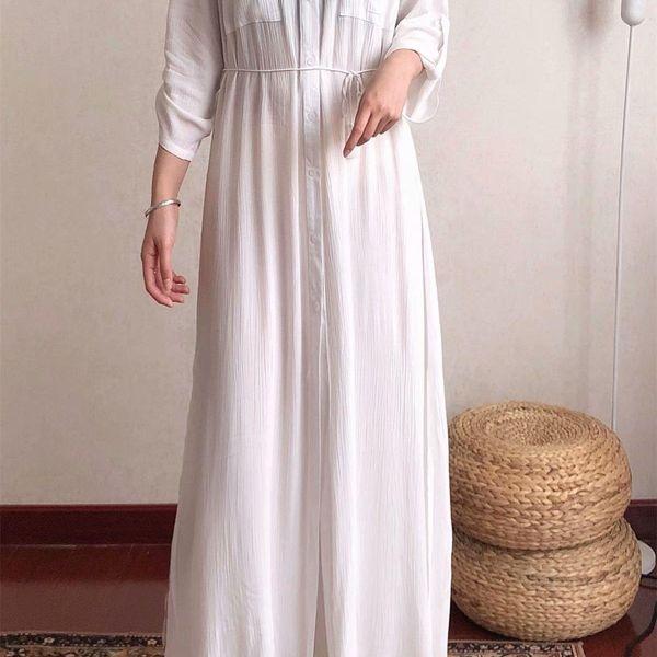 Venta al por mayor White Shirt Long Dress Holiday Dress NHAM186179