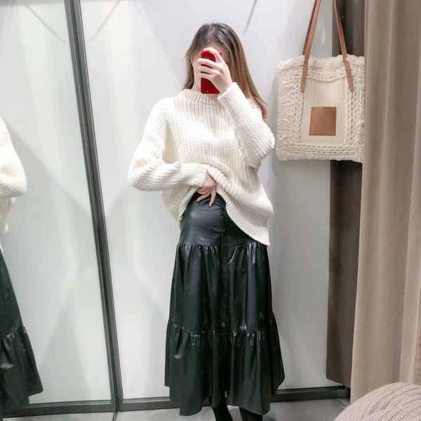 Falda midi de cuero sintético con volantes de invierno al por mayor de PU NHAM186207