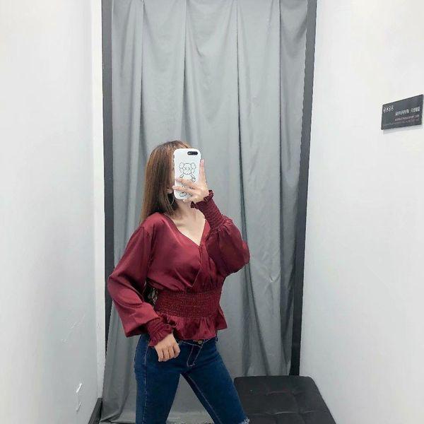 Wholesale Elasticated Slim Waist Slim Thin Ruffle Sleeve V-Neck Blouse Top NHAM186167
