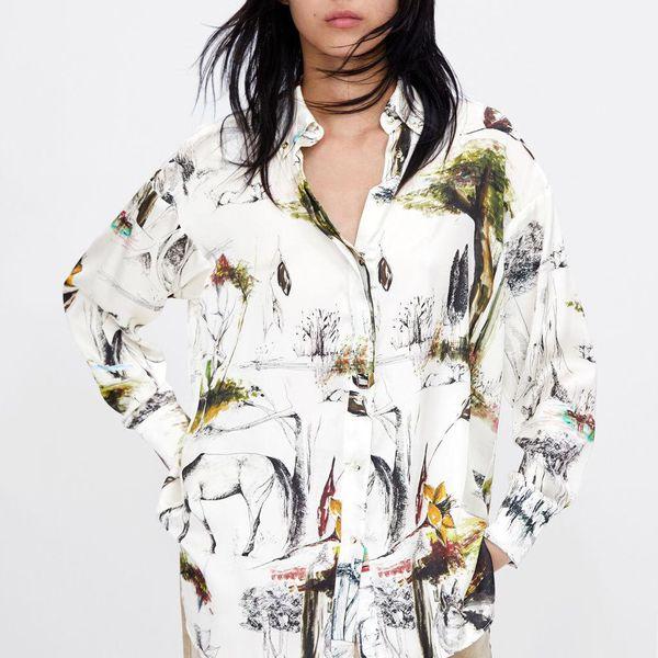 Wholesale printed silk satin texture shirt NHAM186196