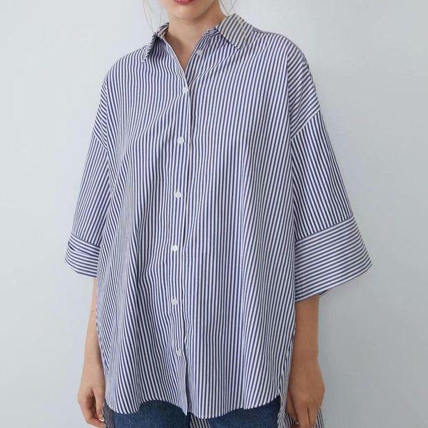 Wholesale striped loose midi shirt NHAM186198