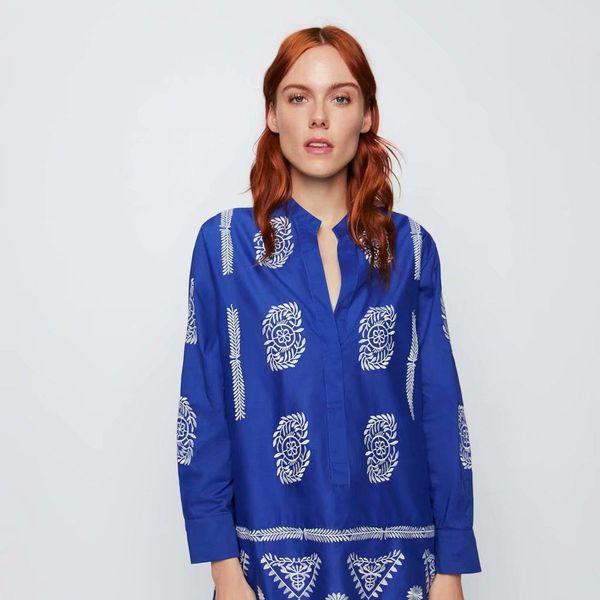Wholesale contrast color embroidery contrast color blouse top NHAM186218