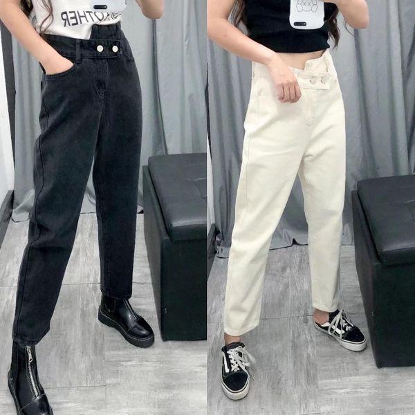 Pantalones de harén de mezclilla de estilo universitario de cintura alta al por mayor pantalones cortos retro mujeres NHAM186170
