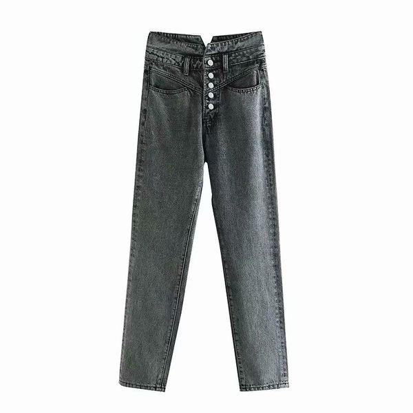 Wholesale new ladies pickled black straight jeans NHAM186176