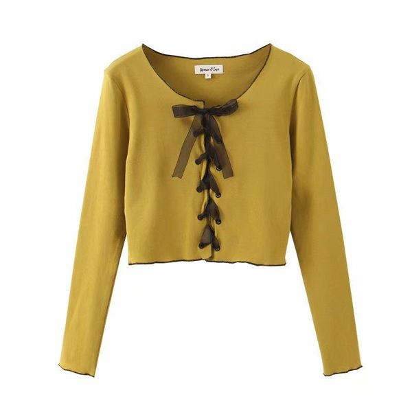 Wholesale Winter Retro Slim Bow Tie Knit Bottoming Shirt T-Shirt NHAM186212