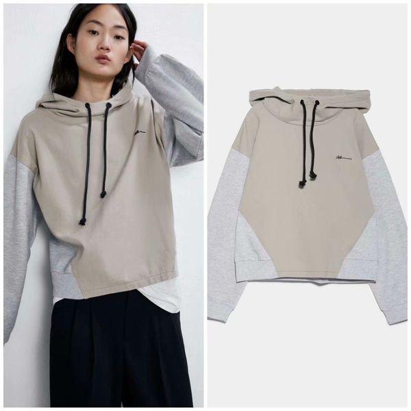 Wholesale winter hooded stitching women's sweatshirt NHAM186215