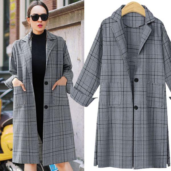 Winter new large size lattice loose long suit jacket women NHJC186222