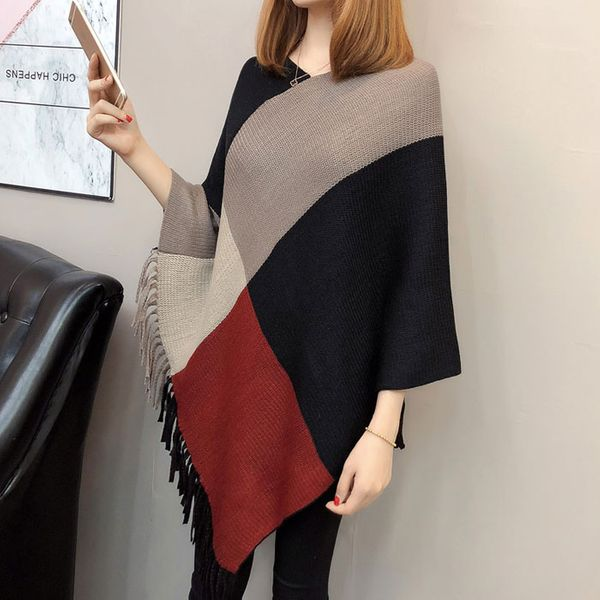 Fashion wild V-neck bat sleeve hit color tassel sweater women NHJC186223
