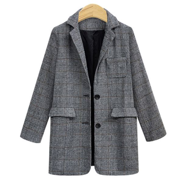 Winter new large size loose retro plaid casual wild suit jacket women NHJC186224