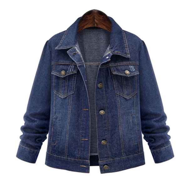 New large size women's solid color long sleeve denim jacket NHJC186225