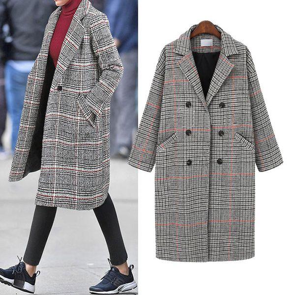 Winter plus size fashion plaid woolen coat coat women NHJC186226
