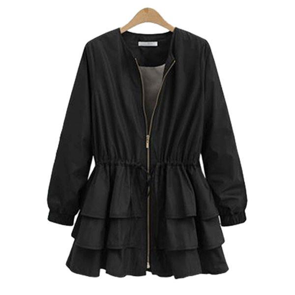 Winter new large size round neck ruffled waist long-sleeved trench coat jacket women NHJC186229