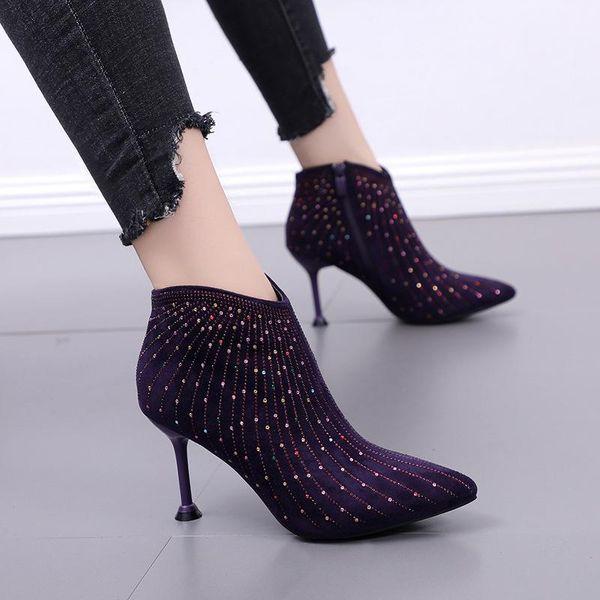 Invierno nuevo estilo puntiagudo con botas Martin botas cortas de diamantes de imitación salvajes botas desnudas NHEH186034