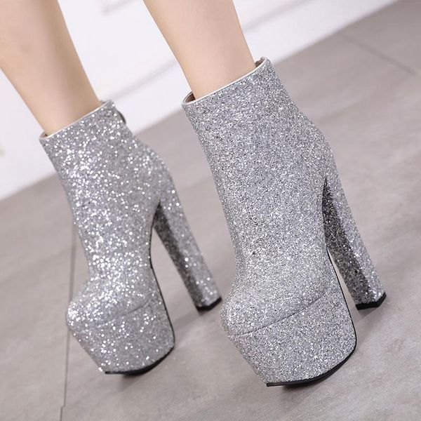 New silver sequins super high heel chunky short boots women's boots 34-40 NHEH186029