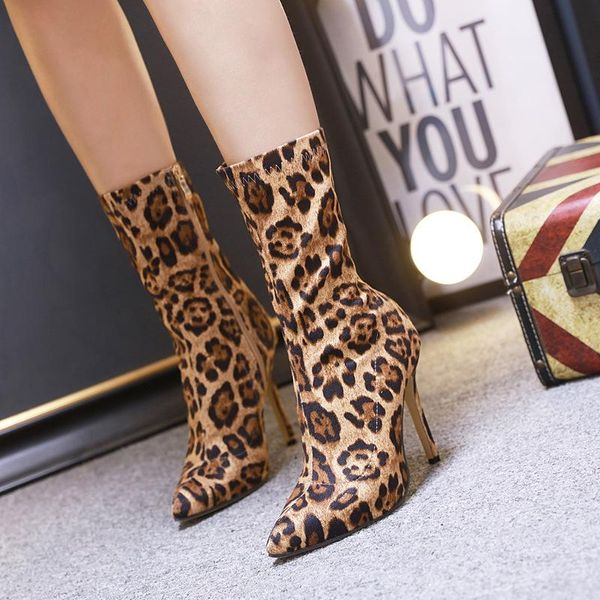 Women's Shoes New Pointed Leopard Booties Fashion High Heel Boots 35-40 NHEH186037
