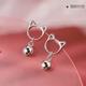 Copper plated gold earrings Korean fashion sweet bell cat earrings NHSC186340